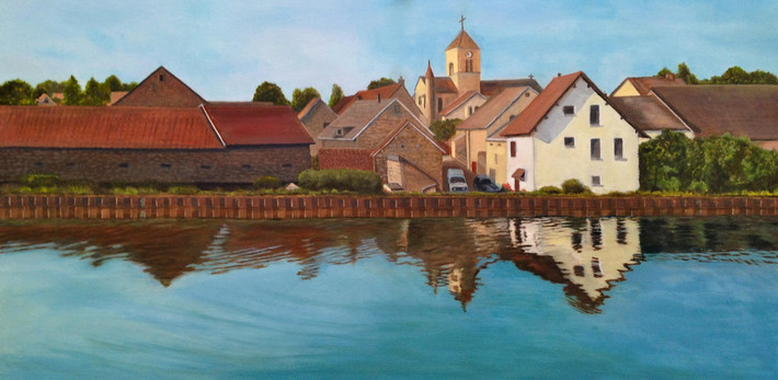 """Burgundy Canal in the Morning"" by Joanne Unruh"